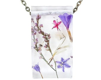 """Real Dried Flower Resin Necklace - Ladybird Collection - """"Resilience"""""""