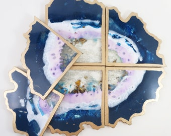 Resin Geode Coaster Set - 6 coasters