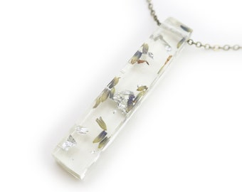 Lavender and Silver Leaf Resin Bar Necklace