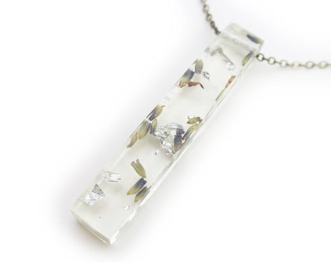 Lavender and Silver Leaf Resin Bar Necklace
