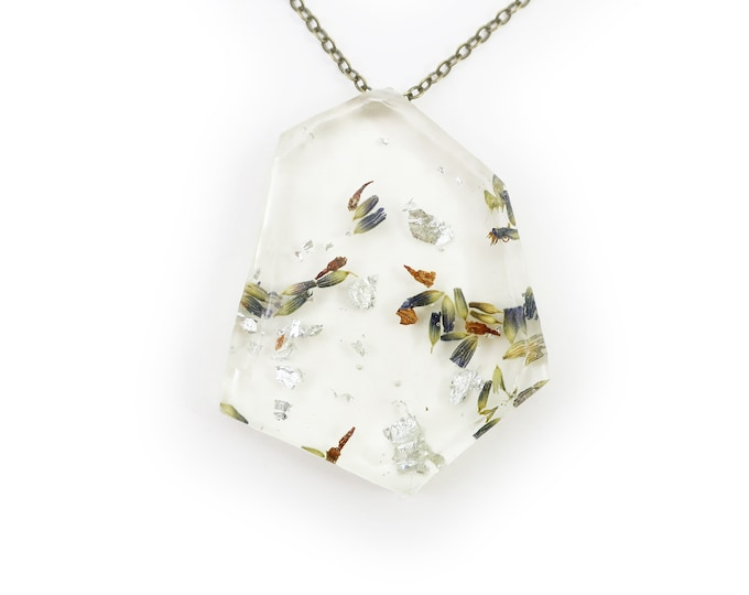 Dried Herbarium Lavender and Silver Leaf Necklace