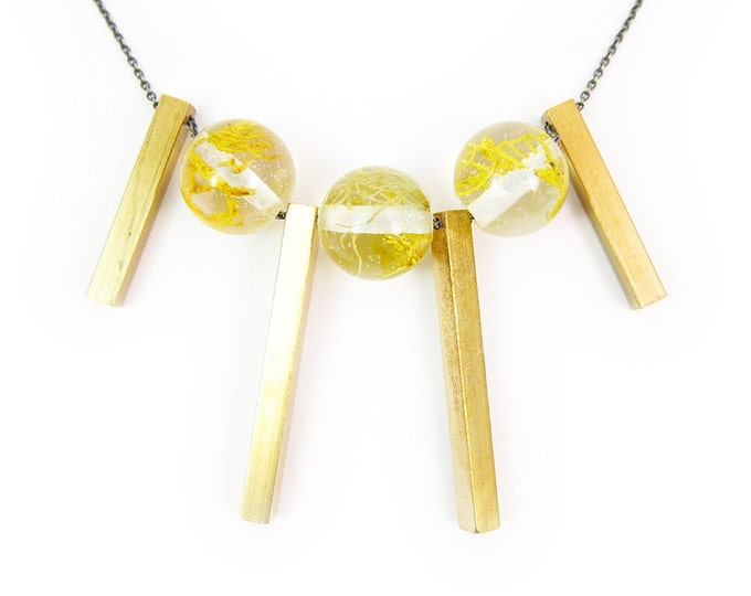 Moss Resin Bead Necklace + Brass Bar Accents