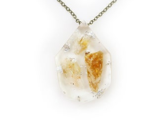 Citrine and Silver Leaf Eco Resin Pendant