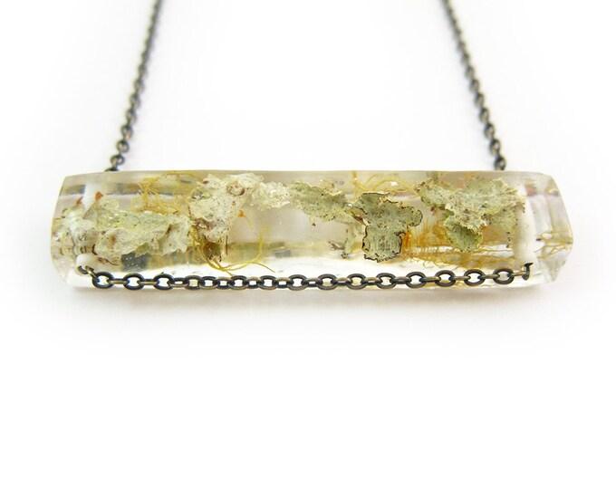 Terrarium Lichen Resin Side Bar Necklace