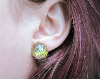 Geometric Terrarium Moss Resin Earrings