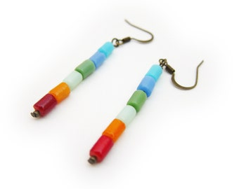 Minimal Rainbow Hanging Earrings