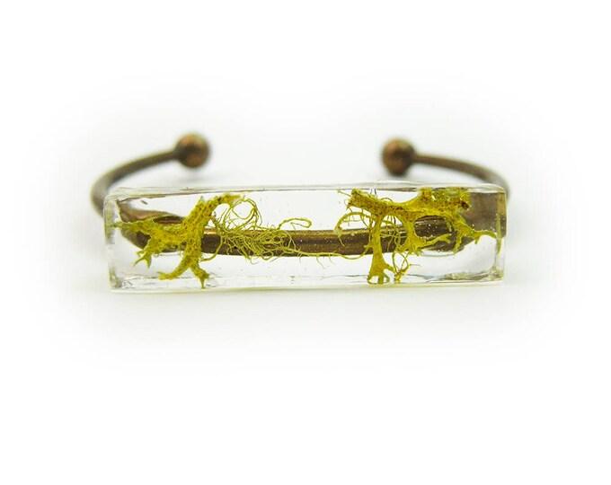 Preserved Moss Eco Resin Bracelet Cuff