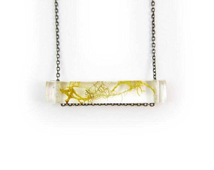 Terrarium Necklace, Resin Side Bar Moss Necklace