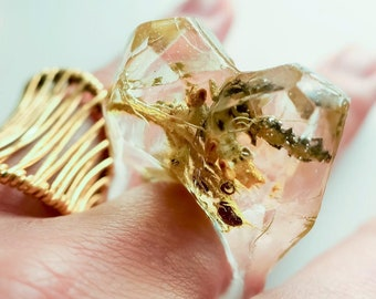 Asymmetrical Faceted Terrarium Ring • Size 5