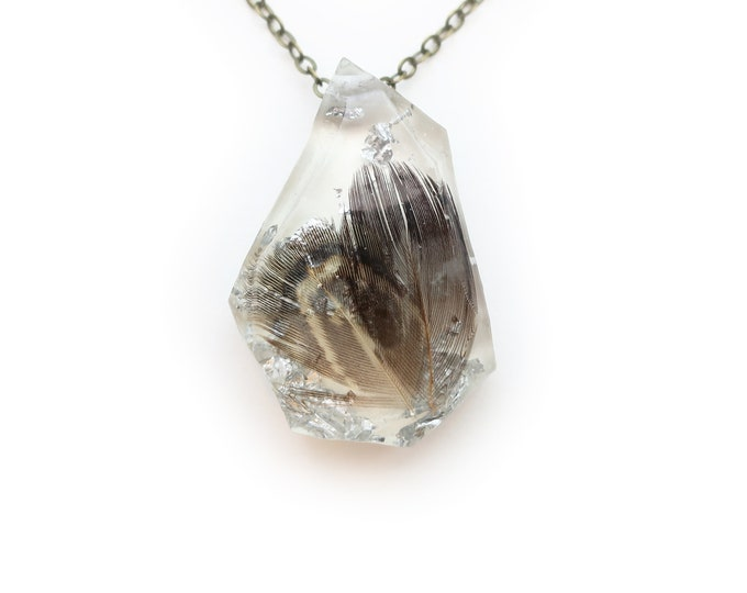 Feather and Silver Leaf Resin Geometric Faceted Necklace