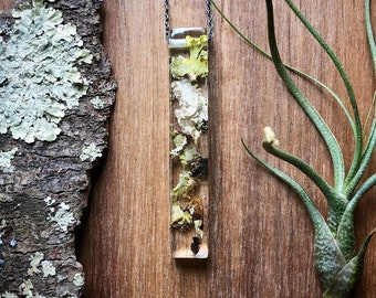 Large Long Lichen Resin Necklace