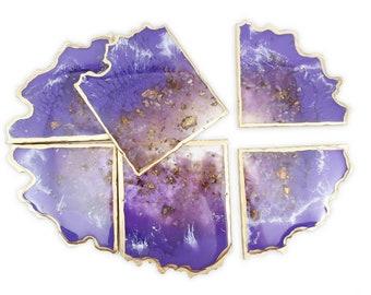 Amethyst Resin Geode Coaster Set - 6 coasters