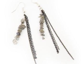 Labradorite Chain and Dangle Earrings