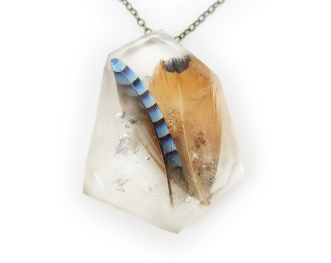 Ethically Sourced 2 Feathers in Resin and Silver Leaf Necklace