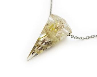 Terrarium Pendulum Spike Eco Resin Necklace