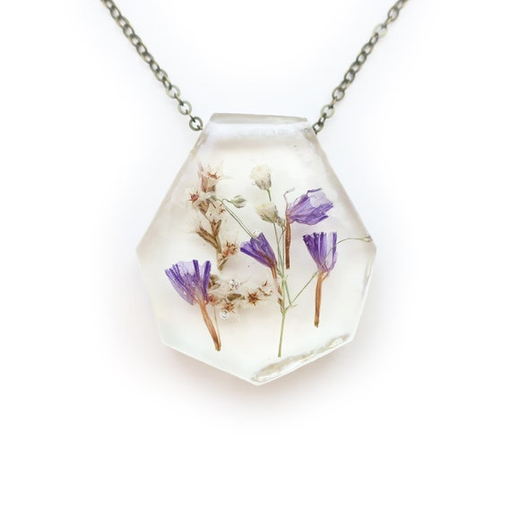 Flower Resin Necklace • Nature Necklace • Eco Resin Pendant Terrarium Jewelry • Flower Jewelry • Science Jewelry • Botanical Jewelry