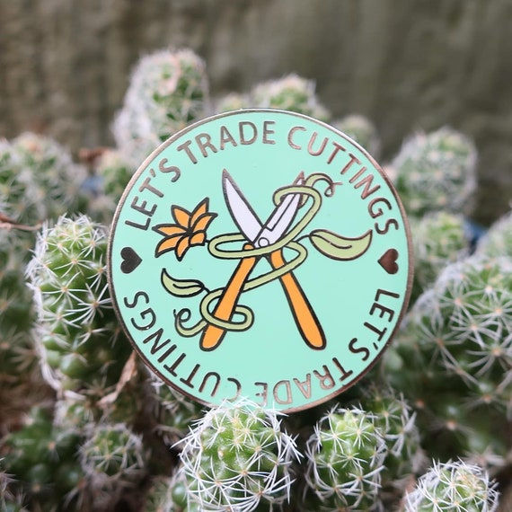 Let's Trade Cuttings Enamel Pin House Plants Botanical Jewelry Plant Pin Garden Gift Crazy Plant Lady Plant Lover Plant Propagation Cutting