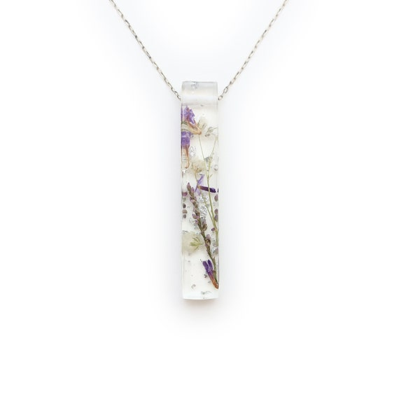 Long Dried Flower and Silver Leaf Resin Bar Necklace