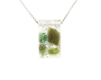 Peridot Necklace with Silver Leaf, Resin Necklace