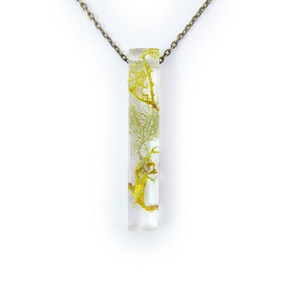 Large Long Terrarium Resin Bar Necklace