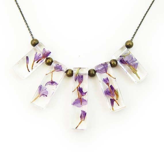 Dried Flower Terrarium Statement Necklace