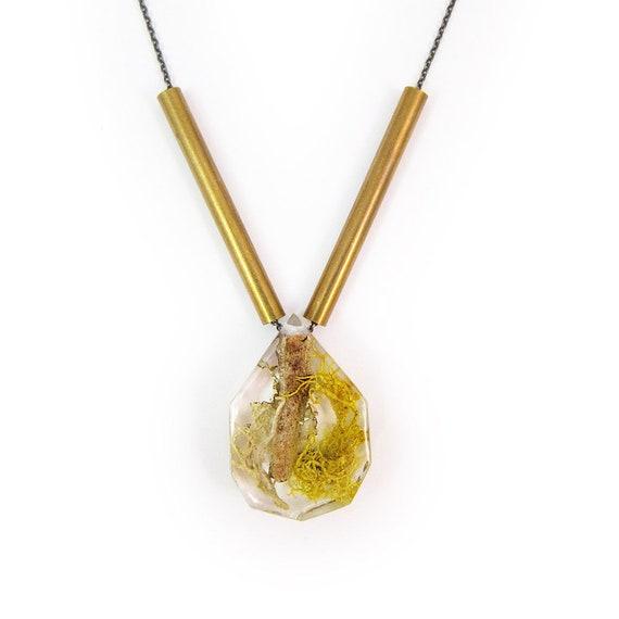 Twig Terrarium and Brass Necklace