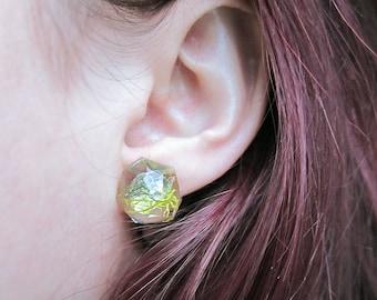 Geometric Terrarium Moss Resin Stud Earrings
