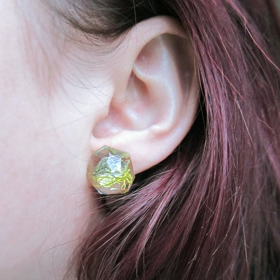 Geometric Terrarium Moss Resin Earrings