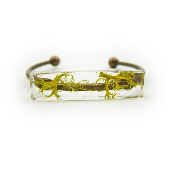 Preserved Moss Eco Resin Bracelet Cuff