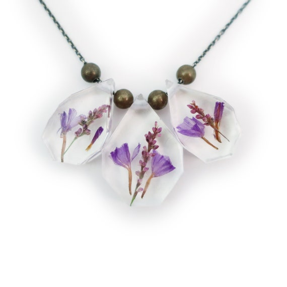 Dried Flower Trio Statement Necklace