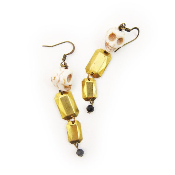 Skull Chain and Brass Gem Dangle Earrings