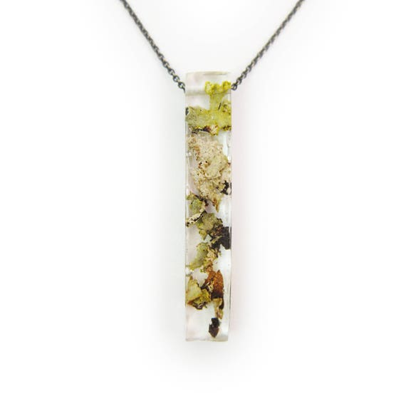Large Long Lichen Resin Necklace Geometric Terrarium Jewelry Nature Jewelry Fairy Garden Boho Jewelry