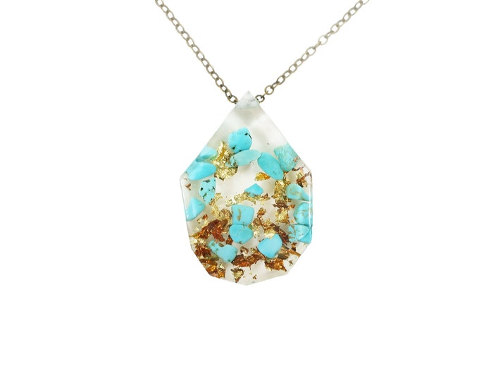 Turquoise Necklace and Gold Flake