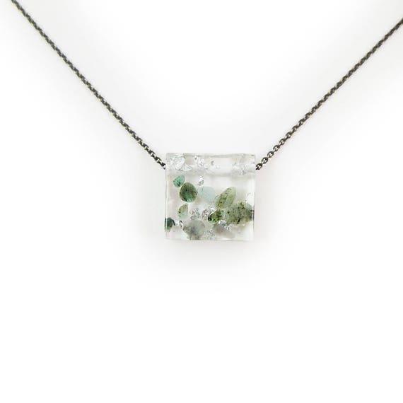Emerald Eco-Resin Tumbled Stone Necklace