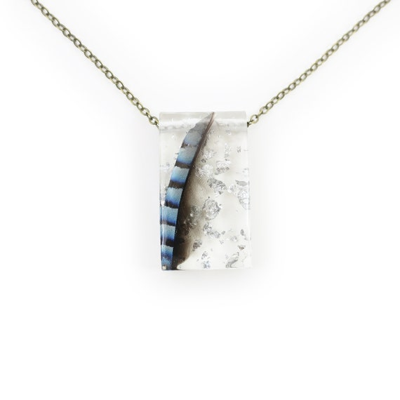 Blue Jay Feather and Silver Leaf Resin Necklace