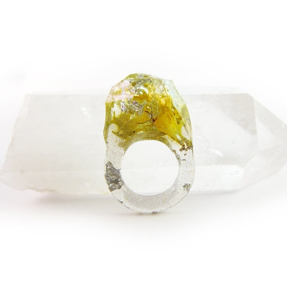 Terrarium + Silver Leaf Resin Ring |  Size 4.5