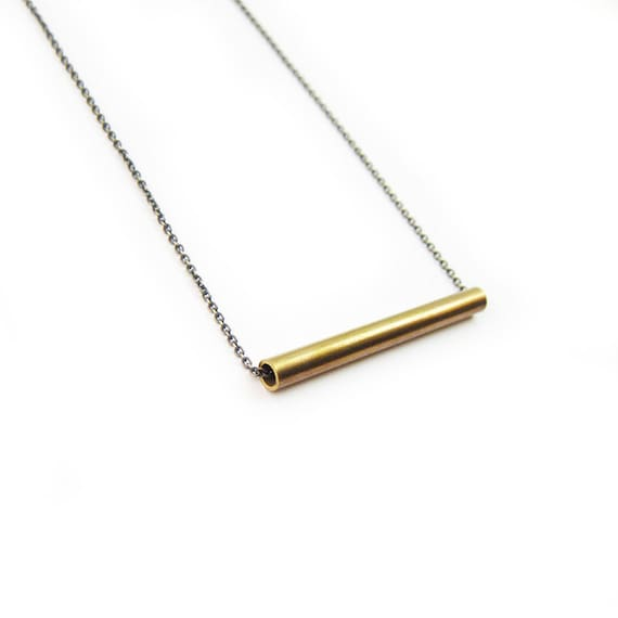 Minimal Necklace Brass Bar Necklace Tube Bead Simple Necklace Modern Necklace