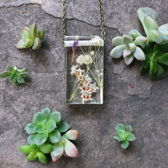 Dried Flower Eco Resin Botanical Necklace