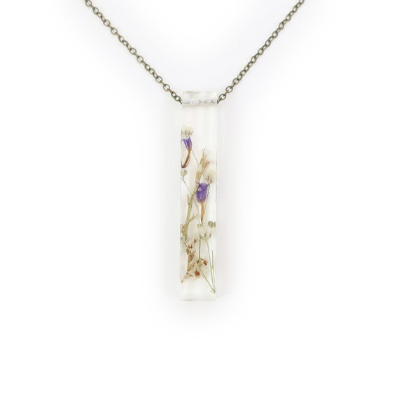 Large Long Dried Flower Resin Bar Necklace