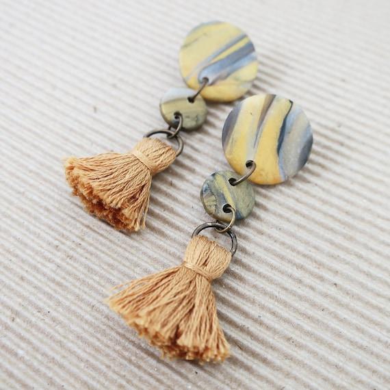 Marble Mustard Tassel Clay Earrings