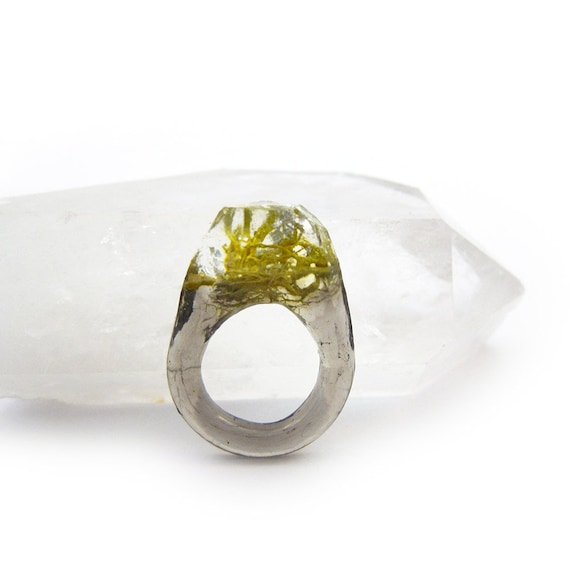 Terrarium + Silver Leaf Resin Ring | Size 5.5
