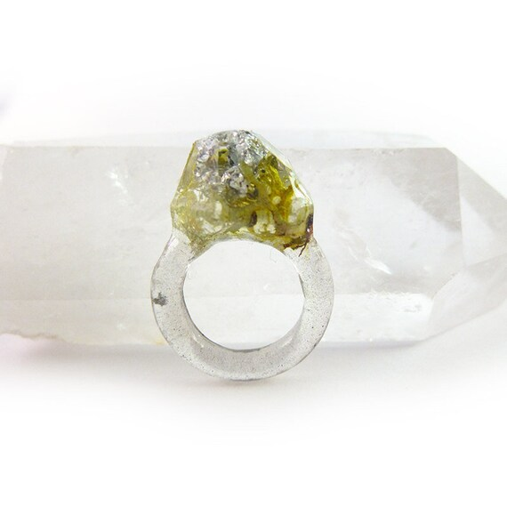 Terrarium + Silver Leaf Resin Ring | Size 5