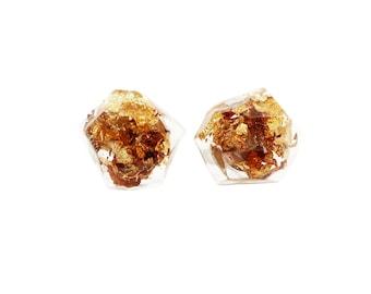 Geometric Faceted Gold Flake Resin Earrings