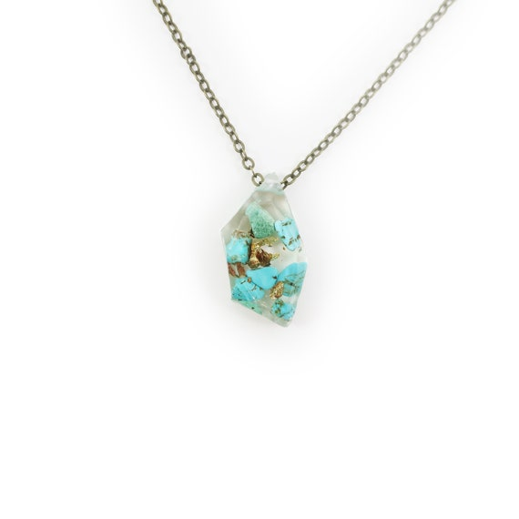 Genuine Turquoise and Gold Flake Eco Resin Necklace