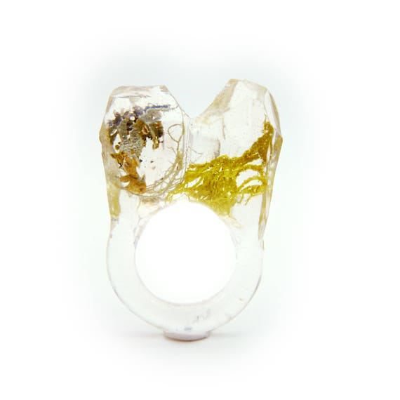 Asymmetrical Faceted Terrarium Ring • Size 5.5