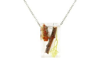 Twiggy Terrarium Rectangle Necklace .