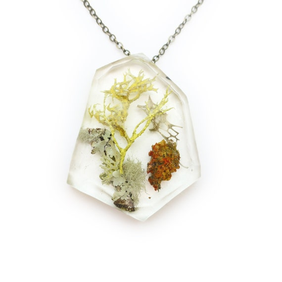 Geometric Terrarium Eco Resin Lichen Necklace