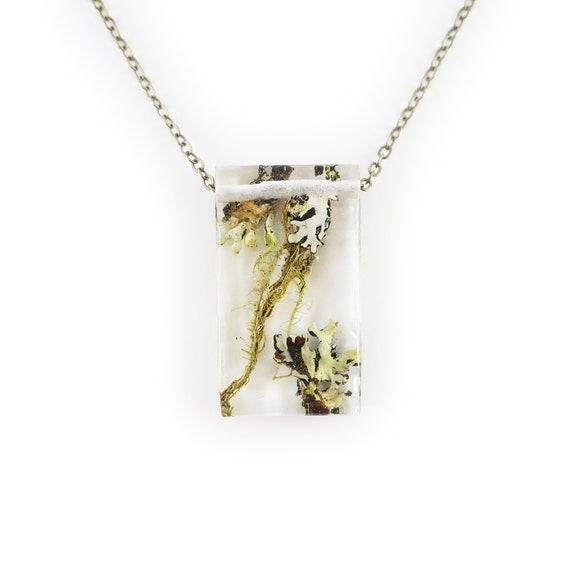 Rectangle Moss and Lichen Terrarium Necklace