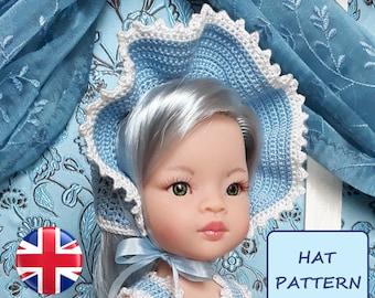 Crocheted bonnet pattern for Paola Reina Las Amigas 32 cm doll - PDF download