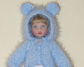 """PDF pattern - knitted bear coat for Riley by Helen Kish or other 7.5"""" / 18 cm doll"""